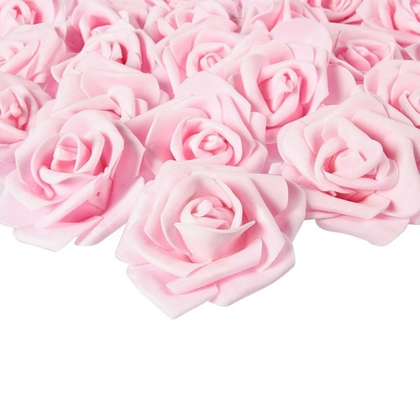 100-Pack Light Pink Rose Artificial Flower Heads for Wedding Home Decorations