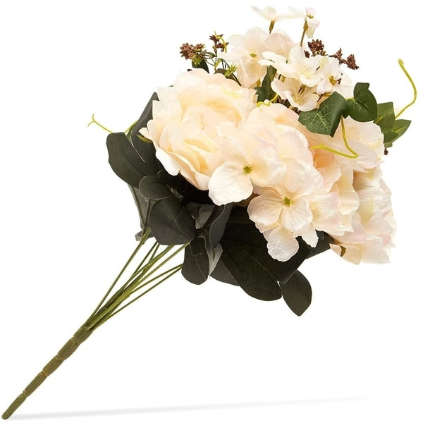 Ivory Artificial Flowers Silk Peonies w/ Stems for Wedding Decor Crafts