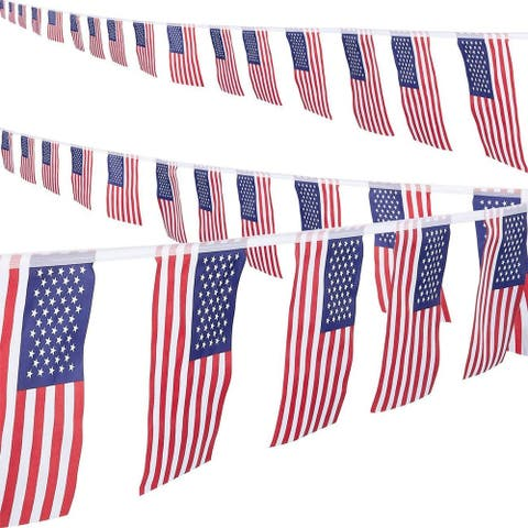 2-Piece American Pennant Flag Banner for 4th of July Memorial Day Deco 8.6-Yard