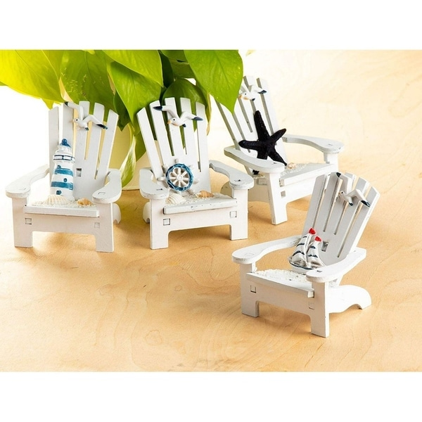 4pcs Wooden Chair Ornament with Desk Decorations Ocean Beach Design Home Decor
