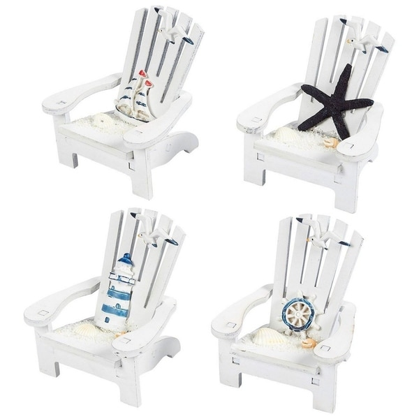 4pcs Wooden Chair Ornament with Desk Decorations Ocean Beach Design Home Decor. Opens flyout.