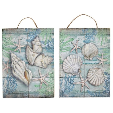 2 Small Hanging Decorations Wooden Wall Ornament Under The Sea Seashells Design