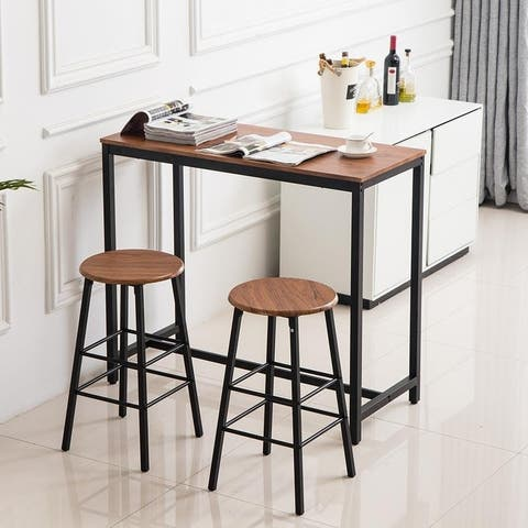 3 Piece Dining Set Studio Collection Soho Dining Table with Two Stools Home Kitchen Breakfast Table