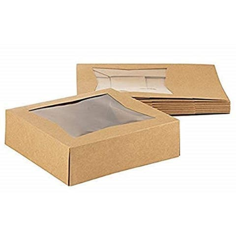 "10 Brown Kraft Paperboard Pop-Up Window Box, Pastry Cake Bakery, 8""x8""x2.5"""