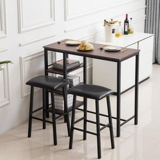 Home Kitchen Breakfast Table 3 Piece Dining Set Bar Set with Soft Stool Three-Layer Frame