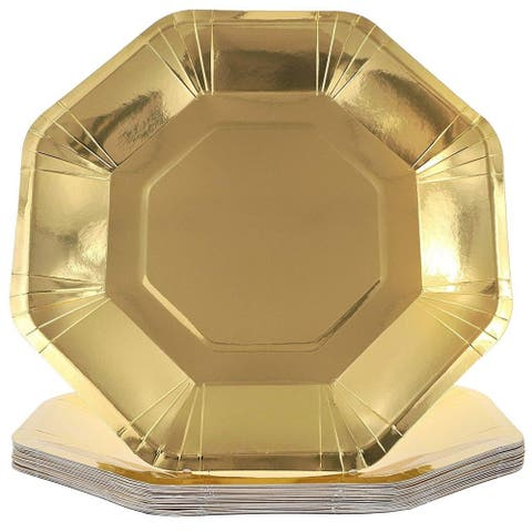 Juvale Octagon Paper Party Plates, Gold Foil, 9 Inches (24 Pack)