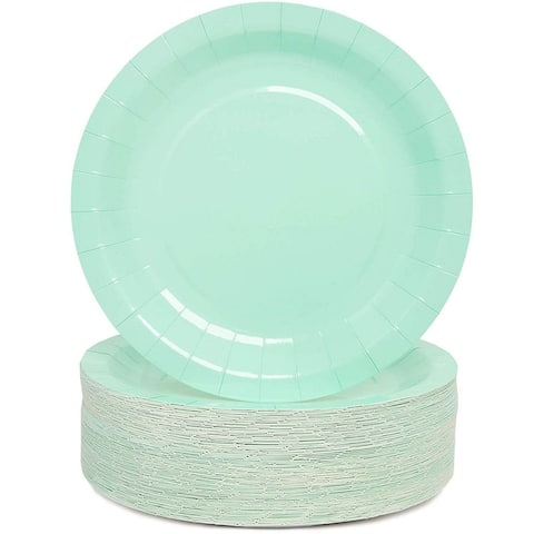 9 Inch Paper Party Plates (80 Pack), Mint Green