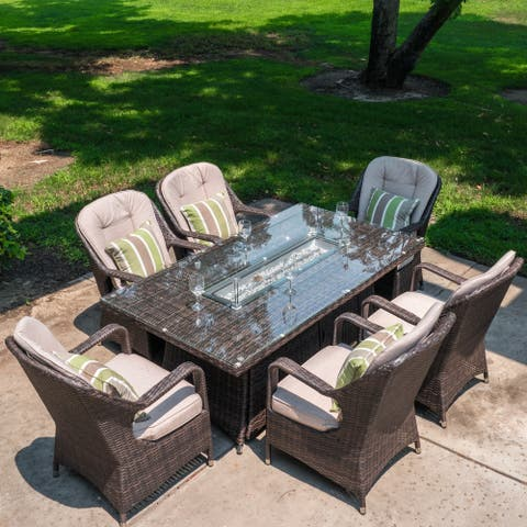 7-Piece Outdoor Wicker Rectangle Gas Fire Pit Table and 6 Arm Chairs
