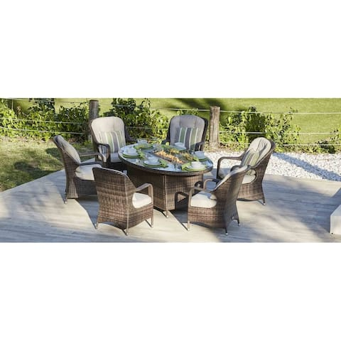 7-Piece Outdoor Gas Fire Pit Set Patio Oval Table with Arm Chairs