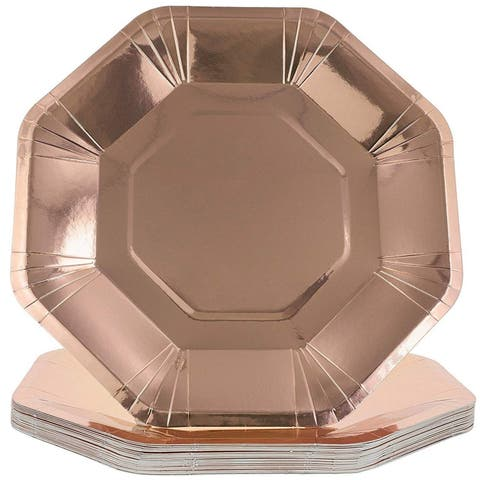 Juvale Octagon Paper Party Plates, Rose Gold Foil, 9 Inches (24 Pack)