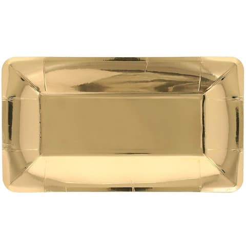 Juvale Rectangular Paper Party Appetizer Plates, Gold Foil (24 Pack)