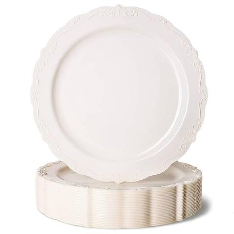 "25x Elegant Vintage Plastic Plates for Birthday, Bridal Shower Wedding, 7.5"""