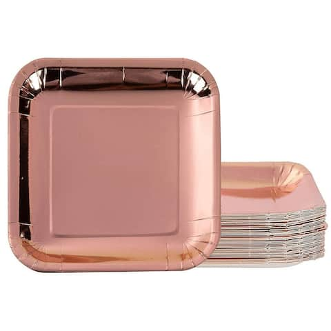 48x Metallic Rose Gold Foil Disposable Square Paper Plates Party Supplies, 7x7""