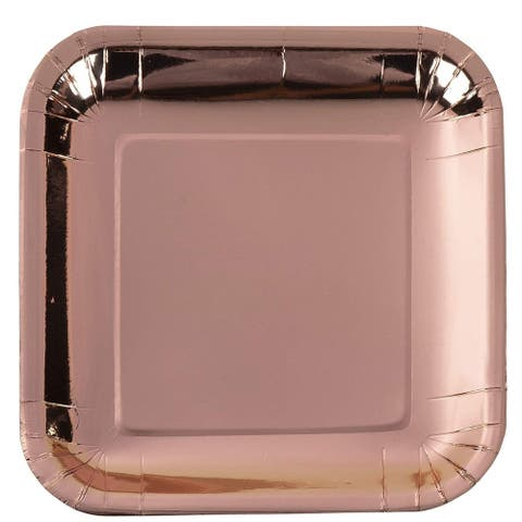 48x Metallic Rose Gold Foil Disposable Square Paper Plates Party Supplies, 9x9""