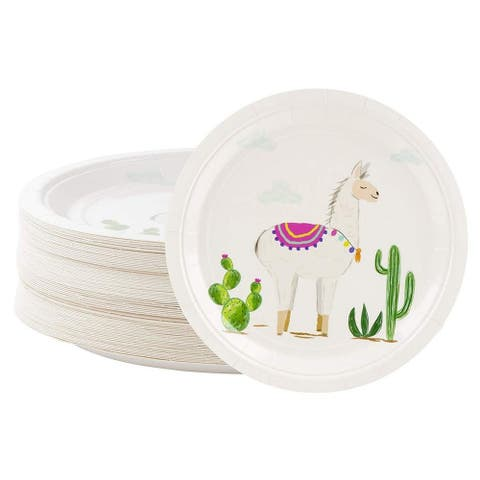 """80x Disposable Paper Plates, Llama Party Supplies, Birthday, Dinner, Lunch, 9x9"""""""