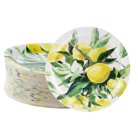 "80-Pack Disposable Paper Plates, Lemon Party Supplies For Dinner Lunch, 9"" x 9"""