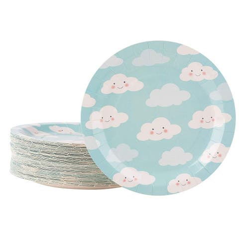 """80-Pack Disposable Paper Plates, Sky Cloud Party Supplies For Dinner Lunch, 9"""""""