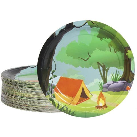 """80-Pack Disposable Paper Plates, Camping Party Supplies for Dinner, 9"""" x 9"""""""