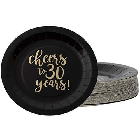 """48x Disposable Gold Foil 30th Birthday Paper Plates Cheers to 30 Years Black, 9"""""""