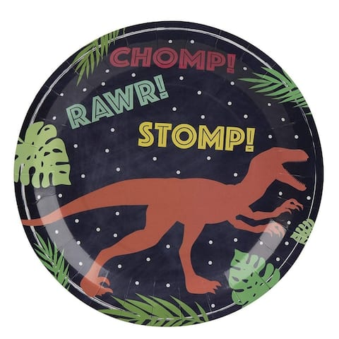 """80-Pack Disposable Paper Plates, Dinosaur Themed Party Supplies for Dinner, 9"""""""