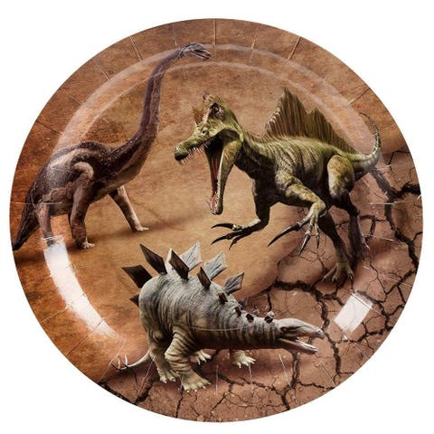 "80x Dino Dinosaur Themed Plates Fossil Skeleton Kids Birthday Party Supplies, 9"""