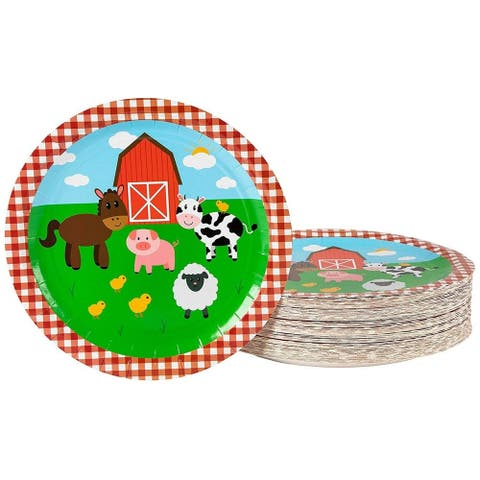 "80-Pack Disposable Paper Plates, Farm Animals Party Supplies for Dinner, 9""x9"""