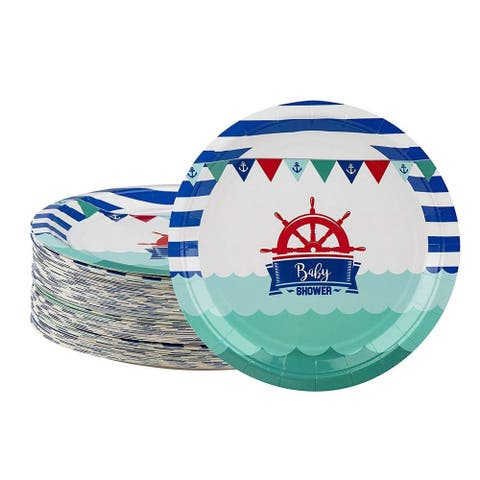 80-Pack Disposable Paper Plates, Nautical Themed Baby Shower Party Supplies, 9""