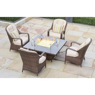 5-Piece Wicker Gas Fire Pit Set Square Table with Chairs