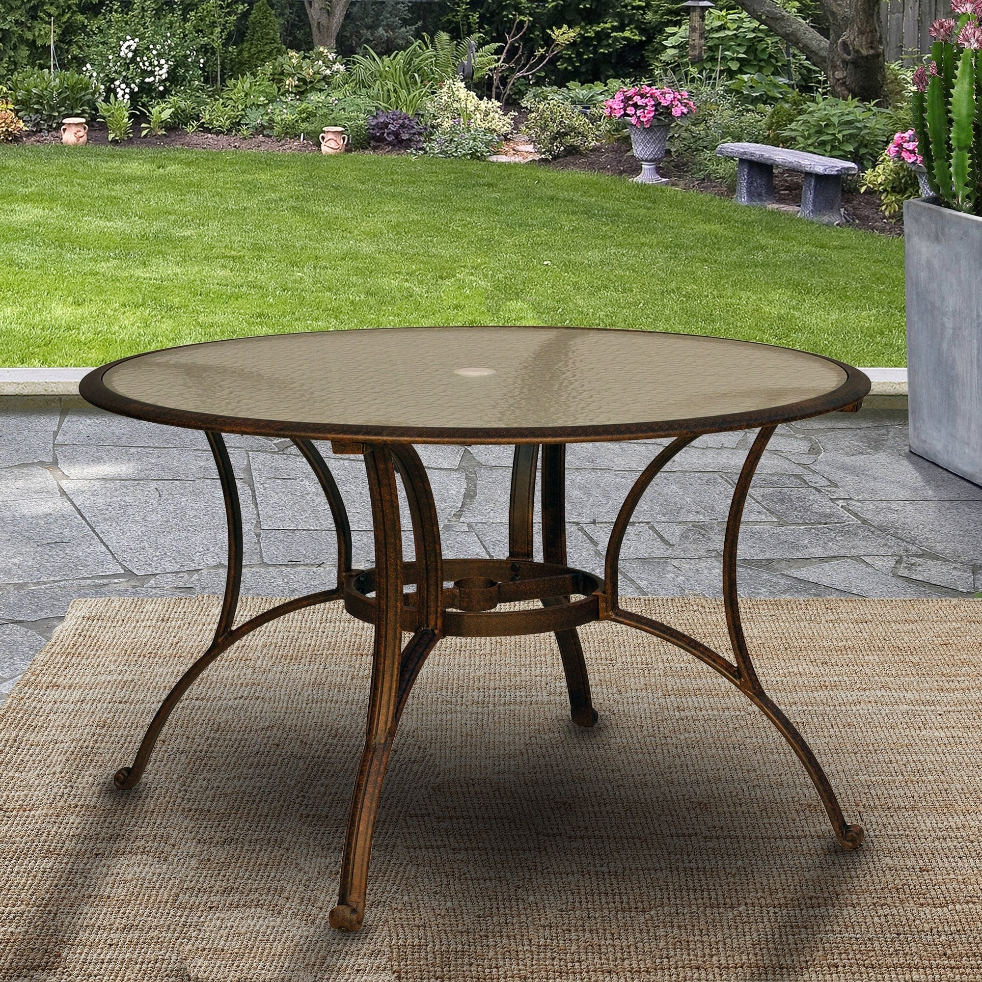 Outdoor Patio Table Round Tempered Glass Top Dining Table 48 With Umbrella Hole Bronze Overstock 29745064