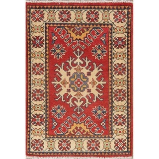 "Geometric Hand Knotted Carpet Super Kazak Bordered Oriental Area Rug - 2'10"" X 2'1"""