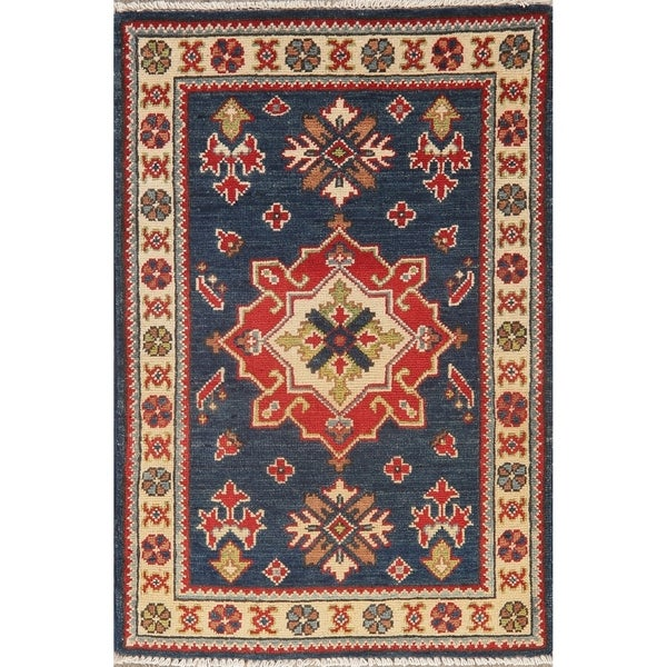 "Bordered Hand Knotted Carpet Geometric Kazak-Chechen Oriental Area Rug - 3'2"" X 2'2"""