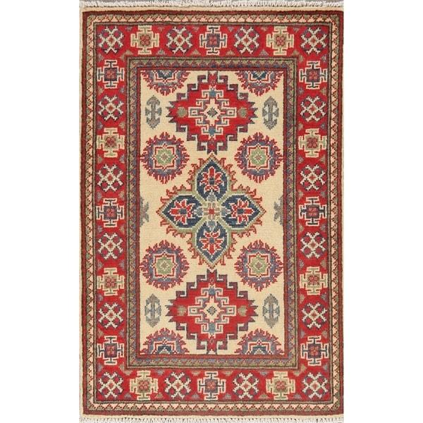 "Bordered Hand Knotted Carpet Super Kazak Oriental Geometric Area Rug - 3'1"" X 2'0"""