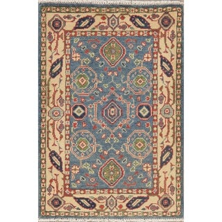 "Super Kazak-Chechen Bordered Geometric Oriental Hand Knotted Area Rug - 3'1"" X 2'2"""