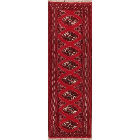 """Geometric Bordered Hand Knotted Carpet Bokhara Oriental Runner Rug - 6'4"""" X 2'1"""" Runner"""