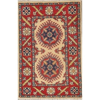 "Geometric Bordered Hand Knotted Super Kazak-Chechen Oriental Area Rug - 3'1"" X 2'0"""