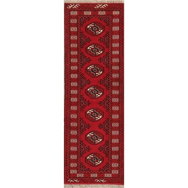 """Geometric Hand Knotted Carpet Bordered Bokhara Oriental Runner Rug - 6'4"""" X 2'1"""" Runner"""