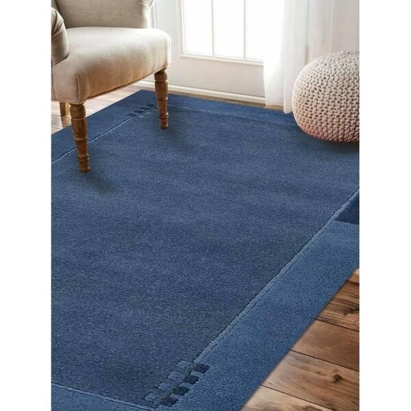Modern Carpet Bordered Indian Solid Handmade Tibbati Oriental Area Rug