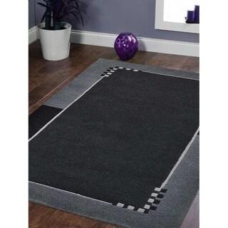 Handmade Tibbati Carpet Bordered Indian Modern Solid Oriental Area Rug