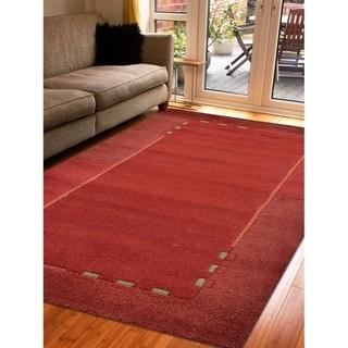Modern Handmade Solid Tibbati Carpet Bordered Indian Oriental Area Rug