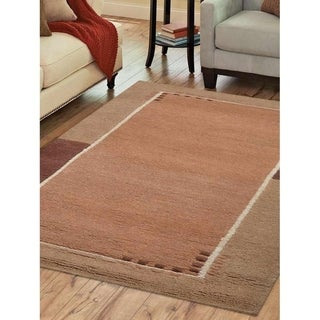 Modern Solid Carpet Handmade Tibbati Bordered Indian Oriental Area Rug