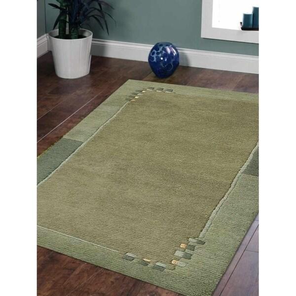 Solid Handmade Tibbati Modern Carpet Bordered Indian Oriental Area Rug