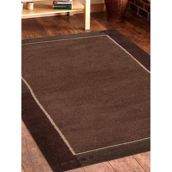 Modern Carpet Bordered Indian Oriental Solid Handmade Tibbati Area Rug