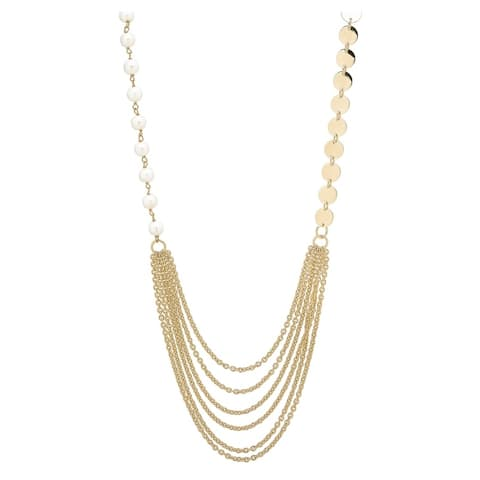 """Forever Last 18 k Gold Overlay 28"""" Double Strand Pearls & Disc Necklace"""