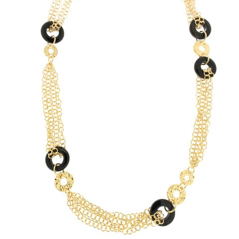 """Forever Last 18 k Gold Overlay 26"""" Multi Chain Onyx Rings Necklace"""