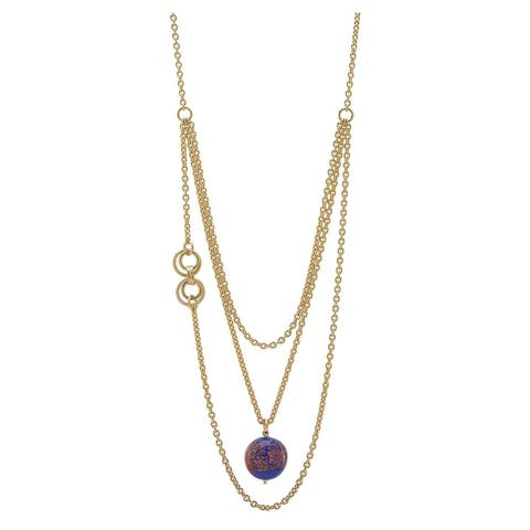 Forever Last 18 k Gold Overlay Long Triple Murrano Pendant Necklace