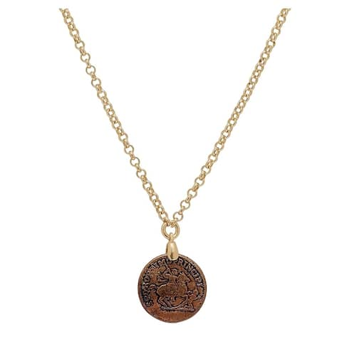 "Forever Last 18 k Gold Overlay Single Coin Pendsnt On 18"" Chain"