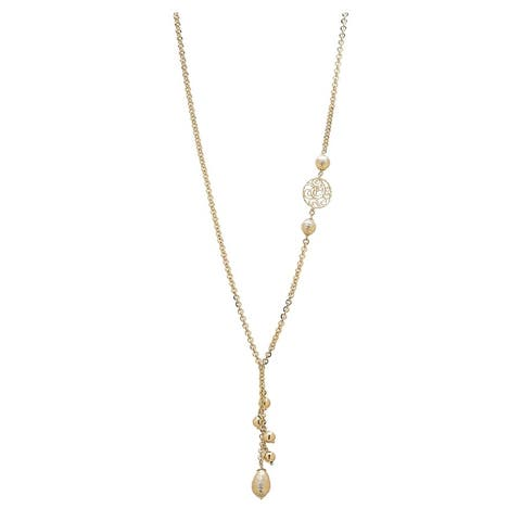 """Forever Last 18 k Gold Overlay 26"""" Rolo Link Lariet Beads Necklace"""