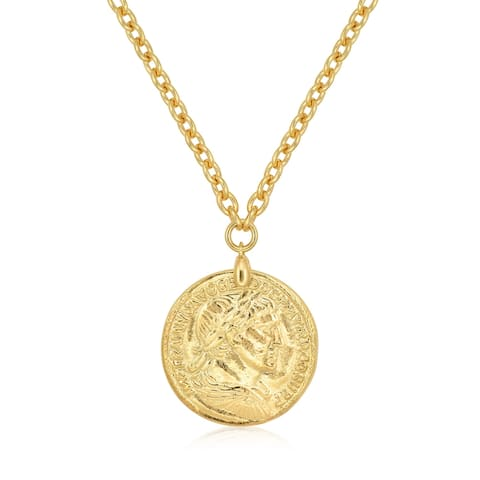 "Forever Last 18 k Gold Overlay 17"" Rolo Coin Pendant Necklace"