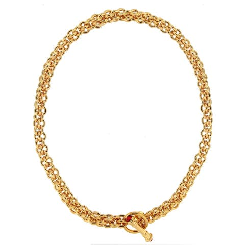 """Forever Last 18 k Gold Overlay 20"""" Large Double Rolo Bronzoro Tags Necklace"""