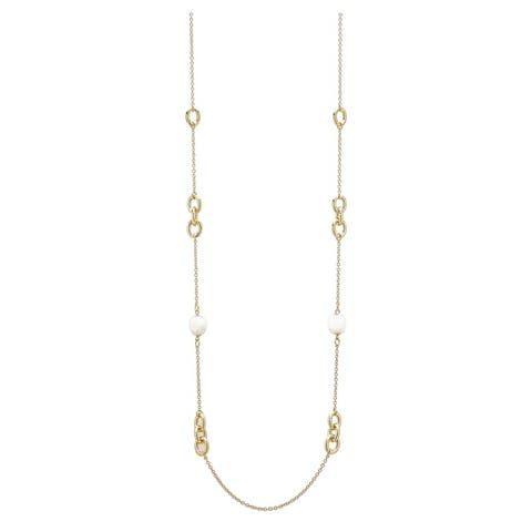 """Forever Last 18 k Gold Overlay 38"""" Rolo Chain & White Agate Necklace"""